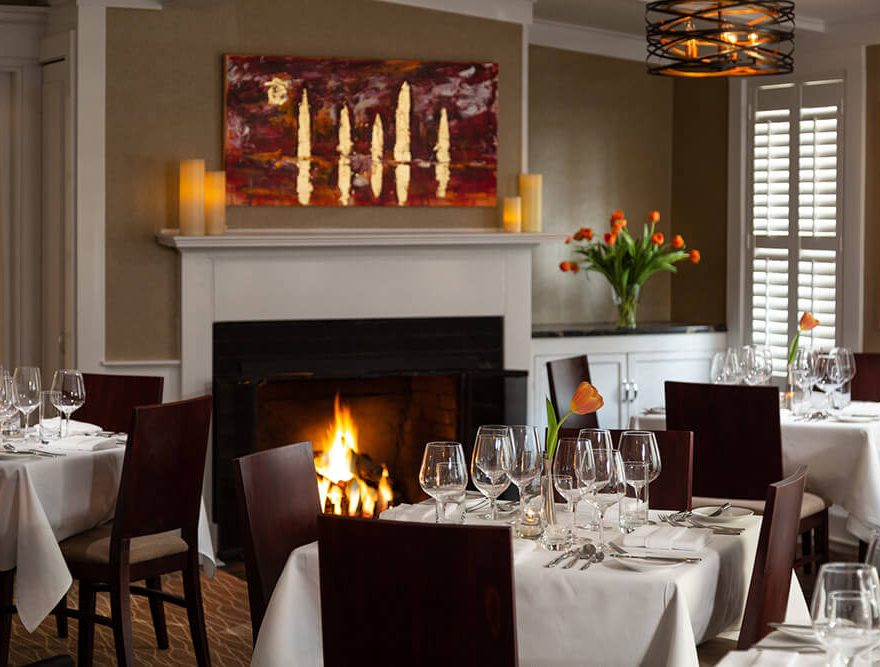 The cozy fireplace in the dining room at our restaurant